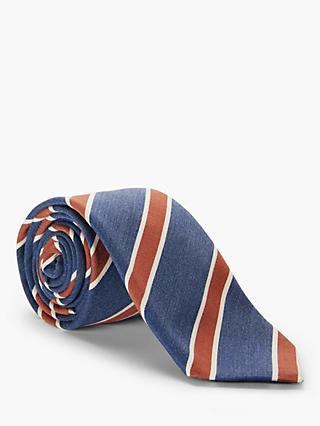 John Lewis & Partners Stripe Silk Tie, Blue/Rust