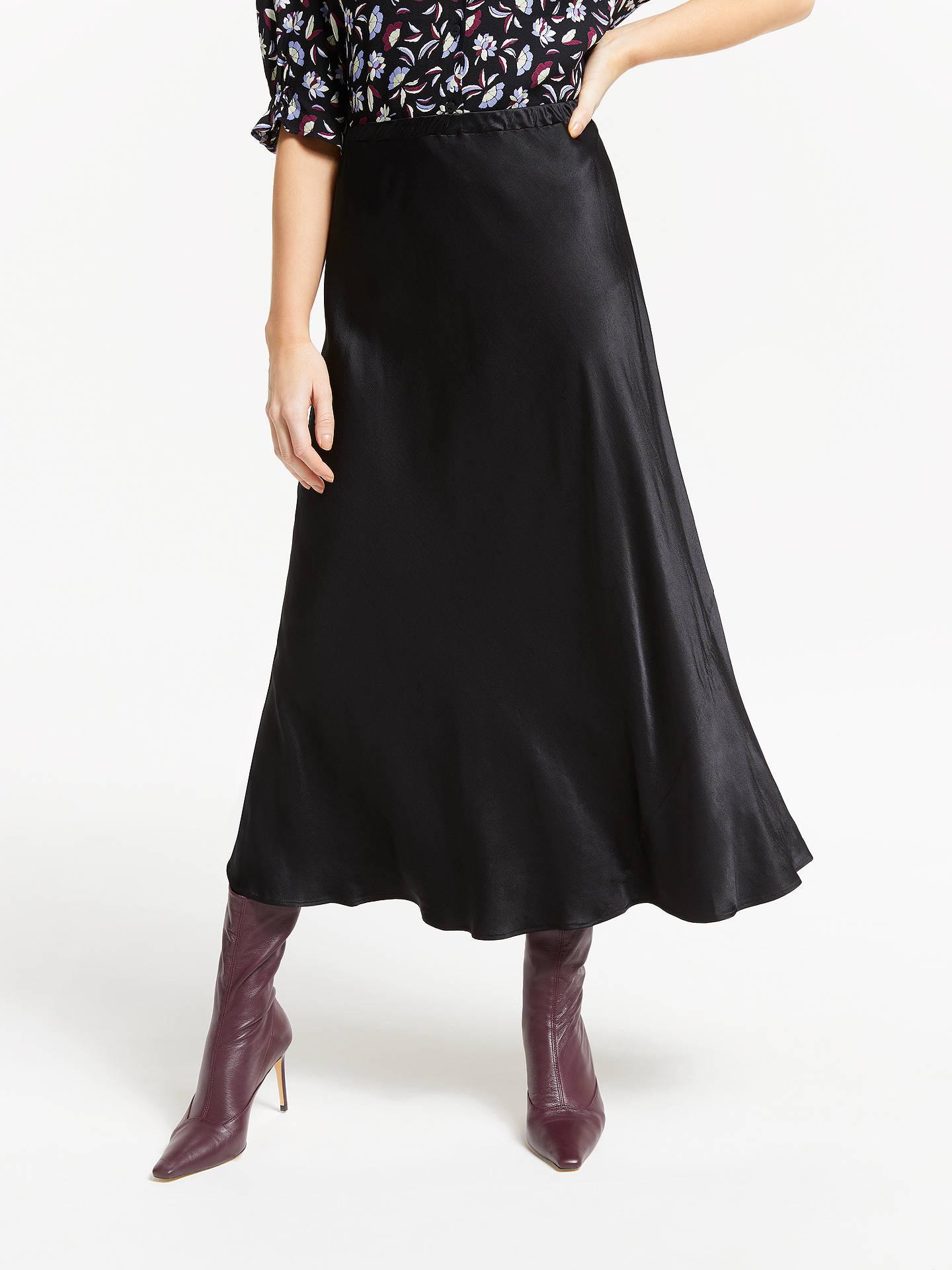 66f3615096 Buy Finery Alberte Satin Skirt, Black, 10 Online at johnlewis.com ...