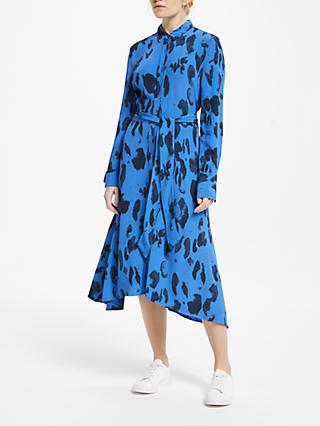 Finery Yvonne Abstract Print Asymmetric Hem Midi Shirt Dress, Turquoise