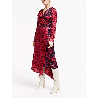 Finery Daria Ruffle Detail Floral Asymmetric Midi Dress, Shadow/Navy