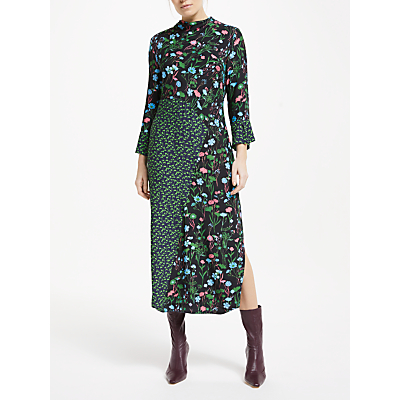 Finery Mia Floral Side Slit Midi Dress, Green/Multi