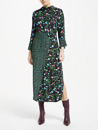 Buy Finery Mia Floral Side Slit Midi Dress, Green/Multi, 18 Online at johnlewis.com