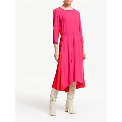Finery Ava Colour Block Midi Dress, Pink/Coral