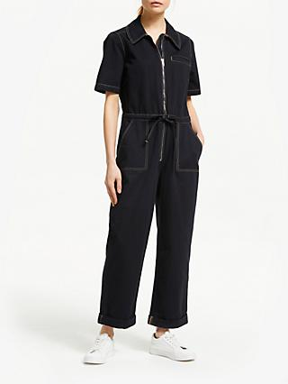 Finery Emmy Cotton Jumpsuit, Black