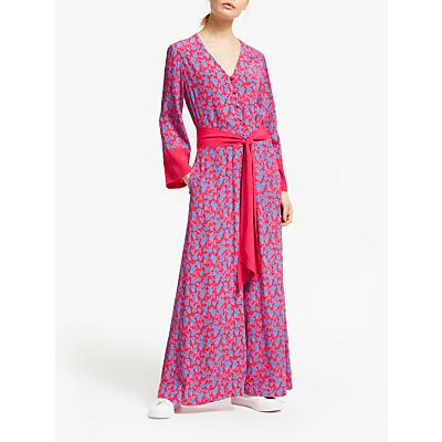 Finery Adalee Long Floral Jumpsuit, Pink/Blue