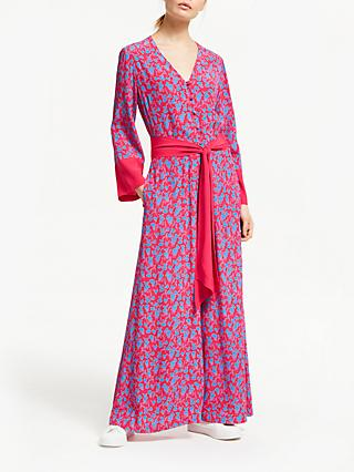 Finery Adalee Long Floral Jumpsuit, Pink/Blue