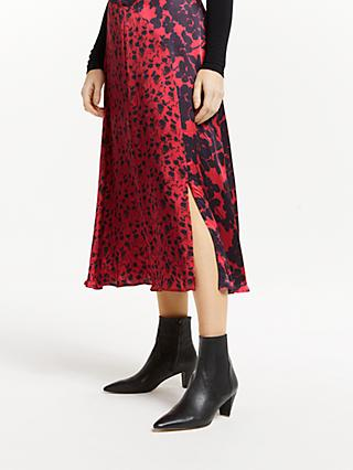 Finery Adelaide Floral Print Midi Skirt, Shadow