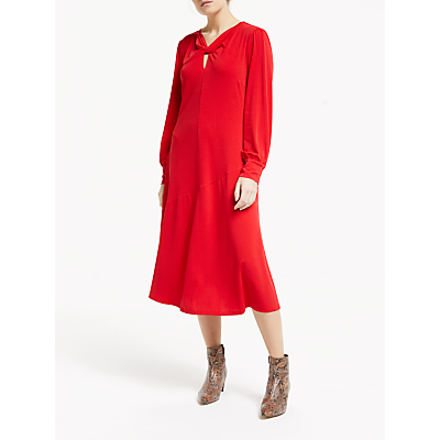 Finery Aveling Twist V Neck Midi Dress, Sired Red