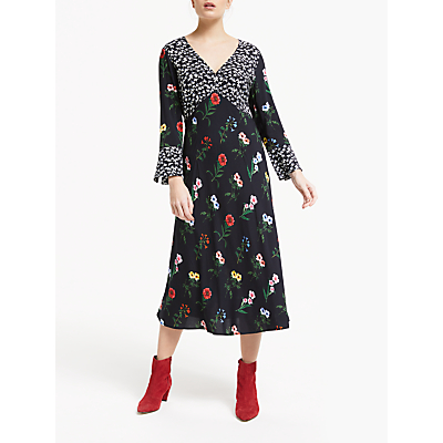 Finery Elodie V Neck Floral Midi Dress, Black/Multi
