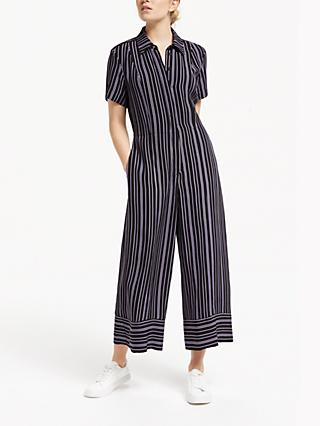 Finery Alida Wide Leg Stripe Jumpsuit, Black/Lilac