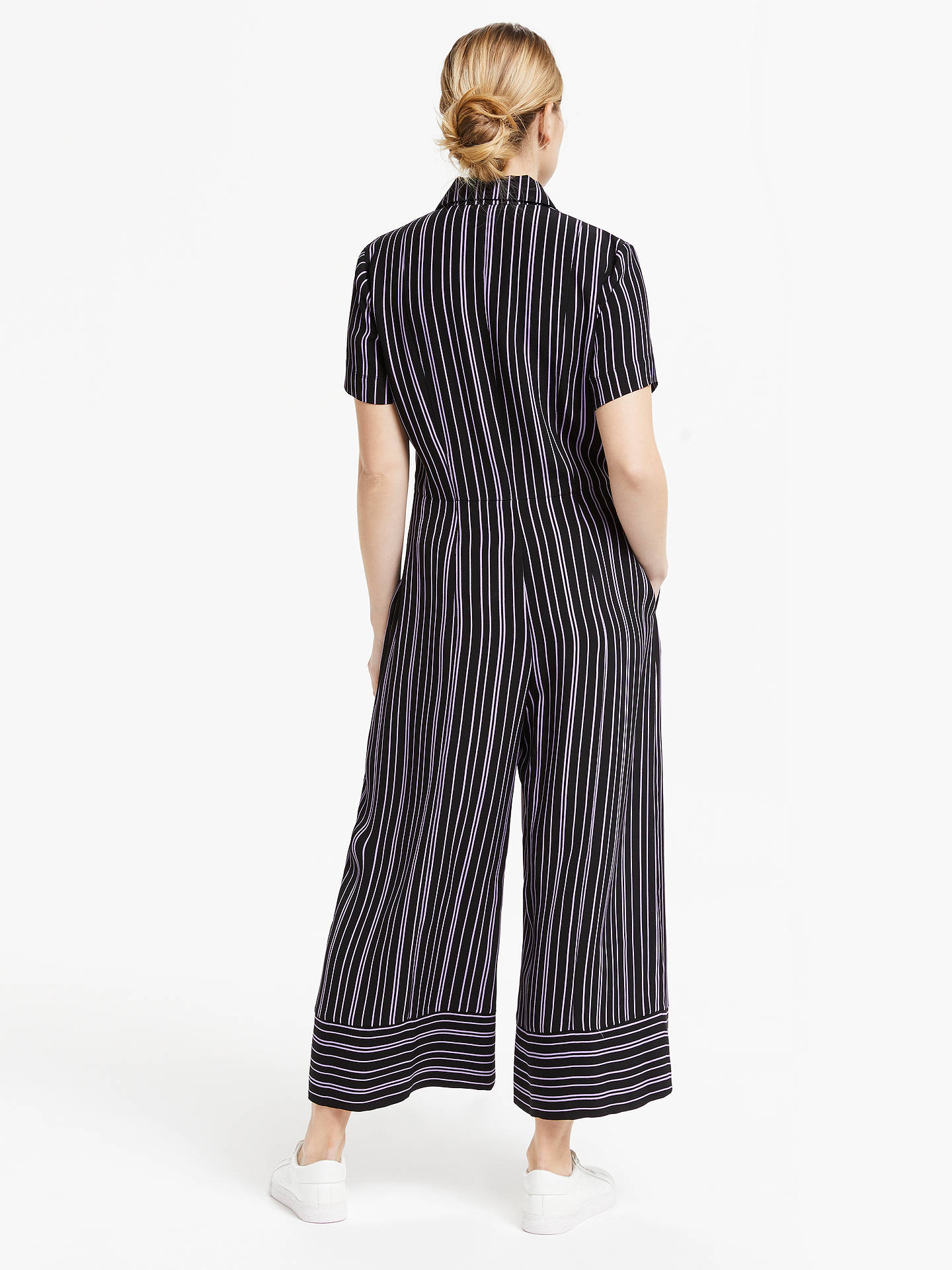 Buy Finery Alida Wide Leg Stripe Jumpsuit, Black/Lilac, 8 Online at johnlewis.com