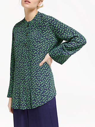 Finery Aria Floral Print Blouse, Navy/Green