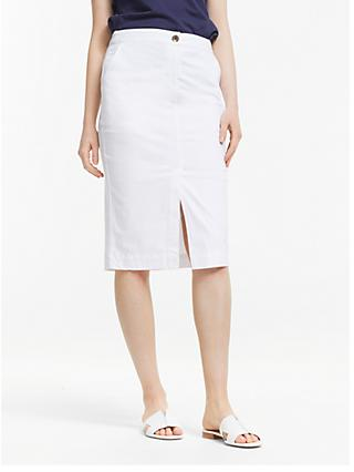 John Lewis & Partners Chino Pencil Skirt, White