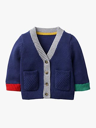 Mini Boden Baby Hotchpotch Knitted Cardigan, Blue