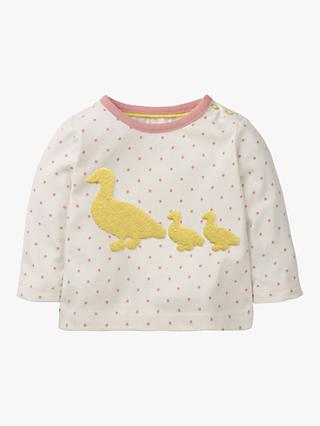 Mini Boden Baby Duck Boucle Spot Print Top, Blossom Pink