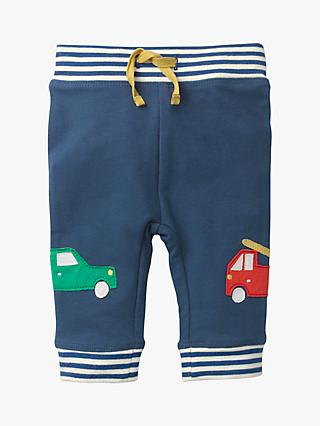 Mini Boden Baby Tractor Appliqué Knee Patch Trousers, Lagoon Blue
