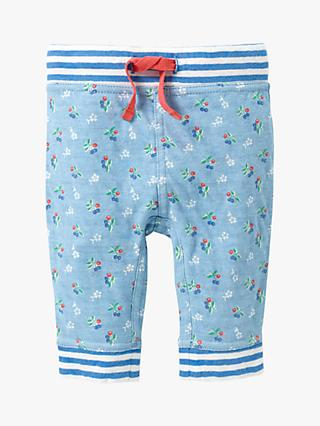 Mini Boden Baby Super Soft Reversible Floral Stripe Trousers, Sky Blue