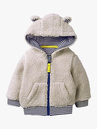 Mini Boden Baby Shaggy Lined Zip-up Hoodie, Oatmeal