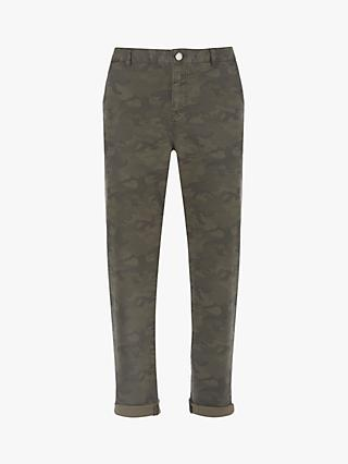 Mint Velvet Camo Metallic Side Jean, Dark Green