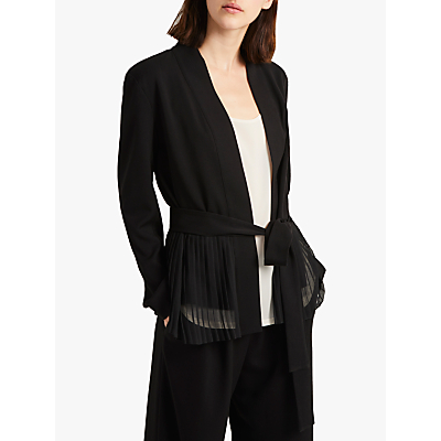 Product photo of French connection angeline belted pleat detail blazer black