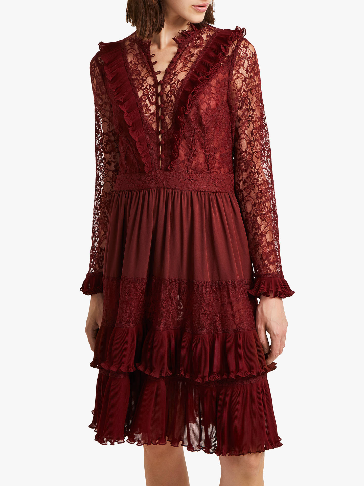 6160ba293254 Buy French Connection Clandre Vintage Lace Dress, Rosso Red, 6 Online at  johnlewis.