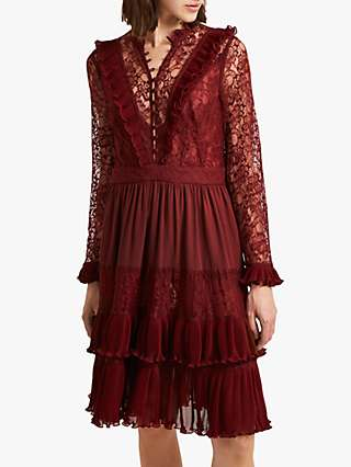 French Connection Clandre Vintage Lace Dress, Rosso Red