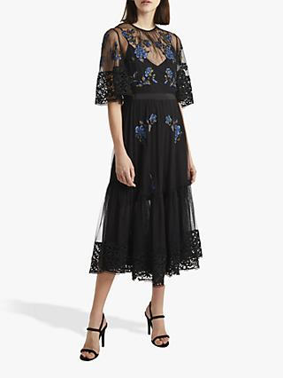 1965b1efec92 French Connection Ambre Embroidered Lace Floral Dress, Black