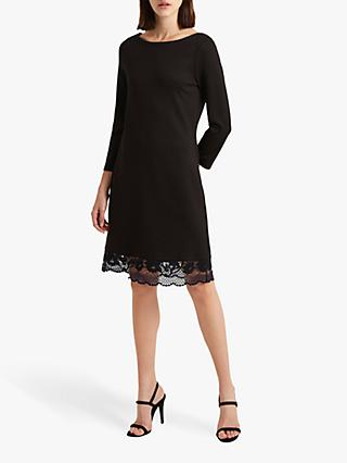 French Connection Lace Trim Dress, Black