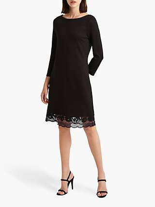 French Connection Lace Trim Dress, Black