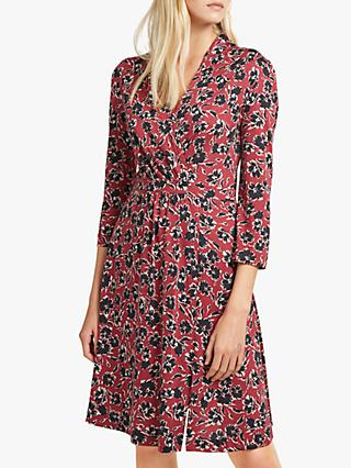French Connection Aubi Floral Wrap Dress, Rosso Red/Multi