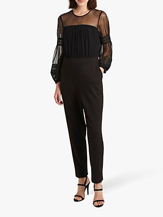French Connection Paulette Jersey Puff Sleeve Jumpsuit, Black