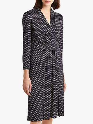 French Connection Caressa Dot Wrap Dress, Utility Blue/Multi