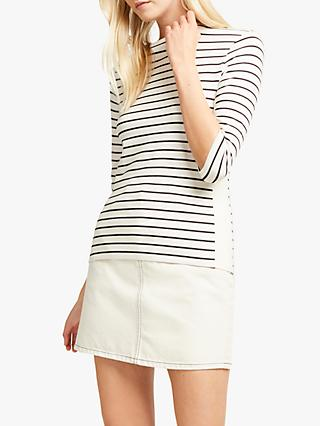 French Connection Tim Tim Block Panel Stripe Top, Neutral
