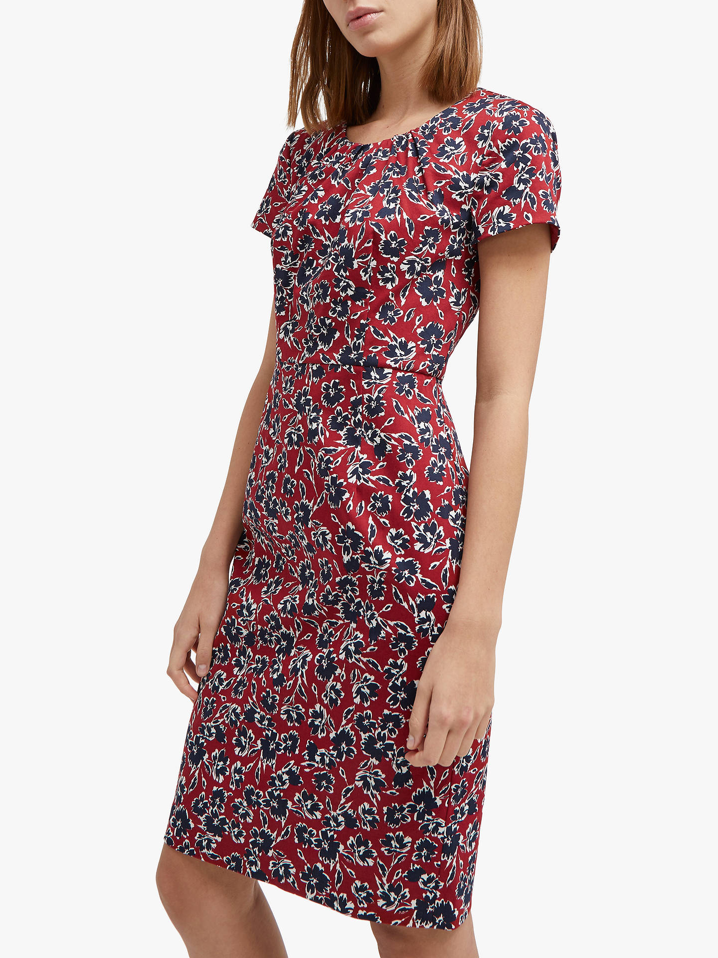 dff7a2191e Buy French Connection Alletea Floral Fitted Dress, Rosso Red/Multi, 6  Online at ...