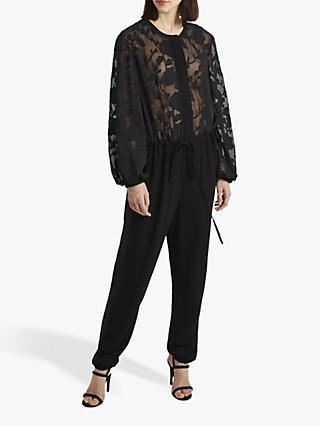 French Connection Besse Puff Sleeve Jumpsuit, Black