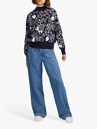 French Connection Sacha Embroidered Jumper, Utility Blue