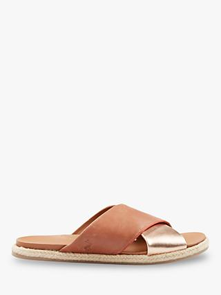 Joules Faraway Cross Strap Slider Sandals, Tan Leather