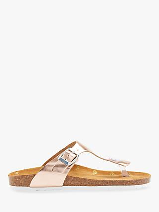 Joules Penley Toe Post Sandals, Rose Gold Leather
