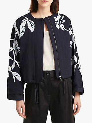French Connection Alleffra Floral Quilted Jacket, Utility Blue