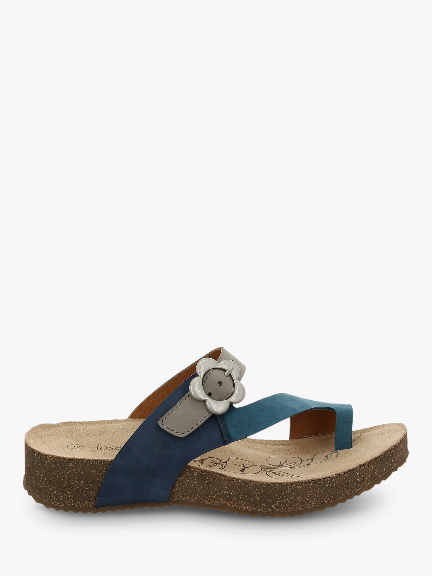 Buy Josef Seibel Tonga 23 Toe Post Flower Buckle Sandals, Blau Kombi, 7 Online at johnlewis.com