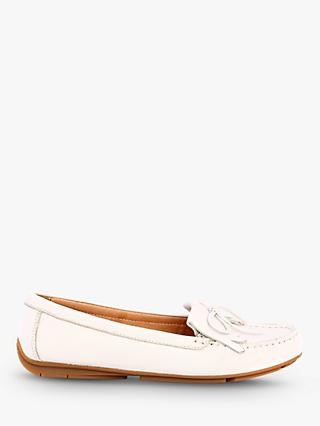 Josef Seibel Elina 03 Bow and Fringe Moccasins, White Leather