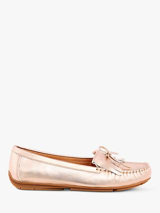 Josef Seibel Elina 03 Bow and Fringe Moccasins, Gold Leather