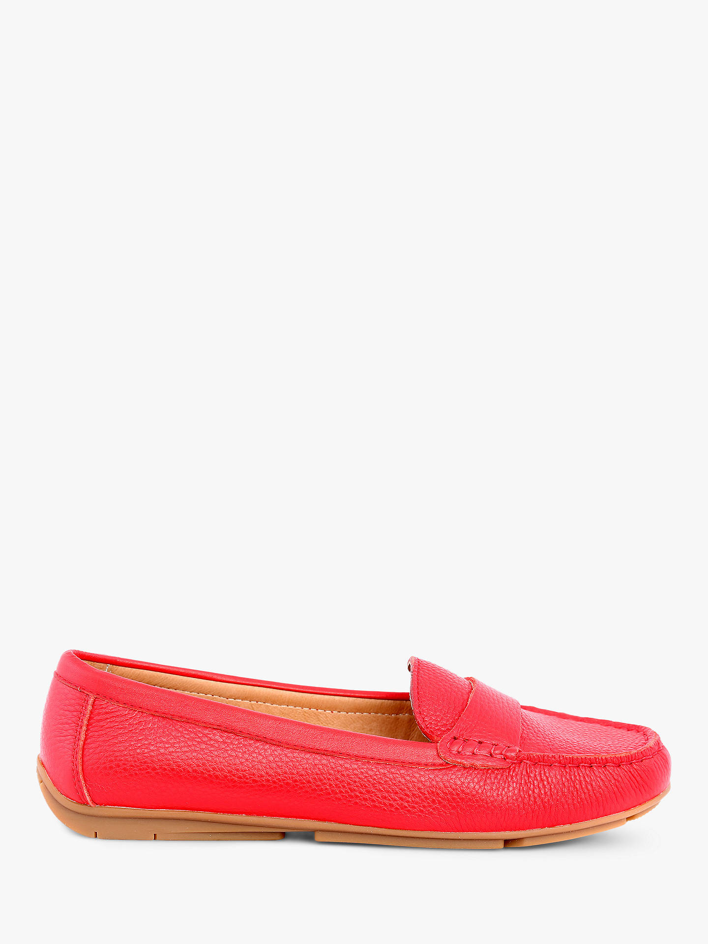 Buy Josef Seibel Elina 02 Classic Moccasins, Red Leather, 3 Online at johnlewis.com