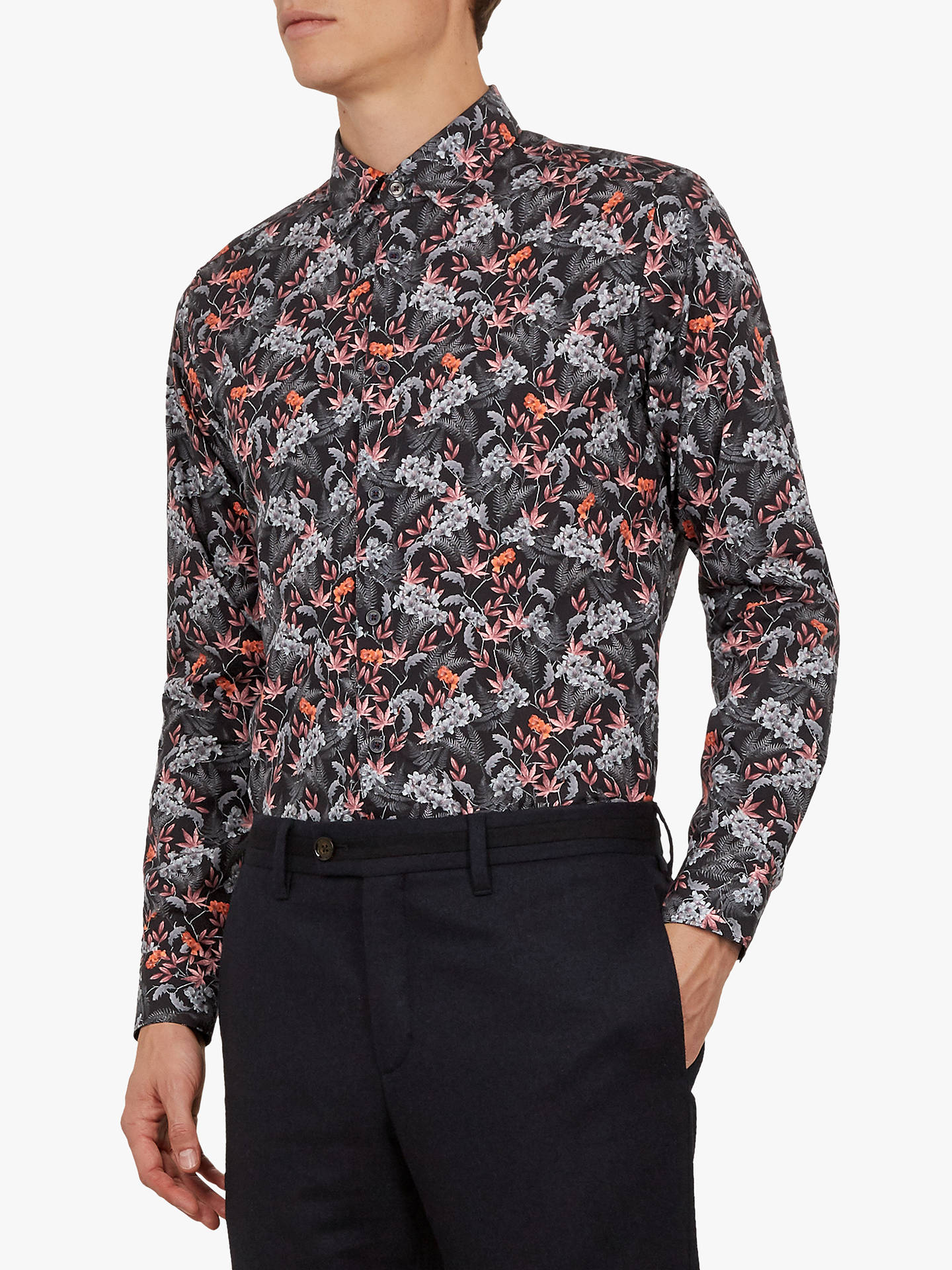 e3b5dbdde Ted Baker Thefern Long Sleeve Floral Shirt, Navy Blue