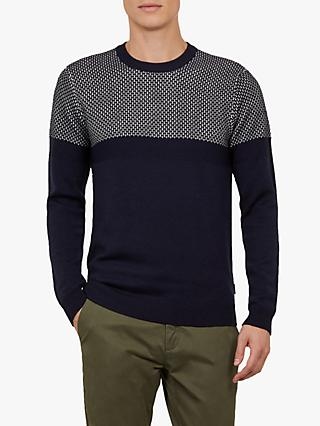 Ted Baker Yeting Interest Stitch Crew Neck Jumper, Navy Blue