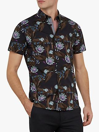 Ted Baker Ssnake Floral Short Sleeve Shirt, Navy Blue