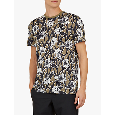 Ted Baker Camp Floral Print Cotton T-Shirt, Green Khaki