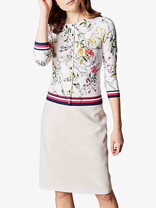 Karen Millen Floral Cardigan, White Bloom