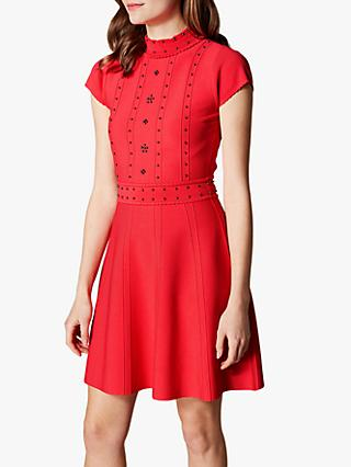 Karen Millen Embellished Knit Dress, Red