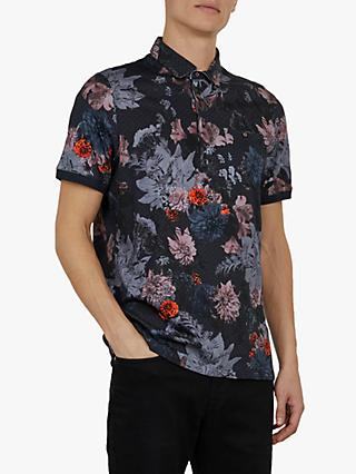Ted Baker Amir Allover Printed Polo Shirt, Navy Blue